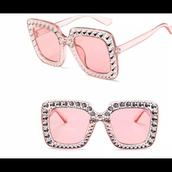 405da107df79 Pink square barbie crystal rhinestone sunglasses